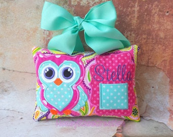 Owl tooth fairy pillow.Tooth fairy pillow.Personalized tooth fairy pillow.