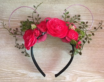 Aurora's Minnie Ears, Mickey Mouse ears, Minnie Mouse ears, Sleeping Beauty ears, Floral ears, floral wire ears