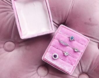 Velvet Ring Box Pink  Handmade Wedding Vintage  Engagement Gift Bride