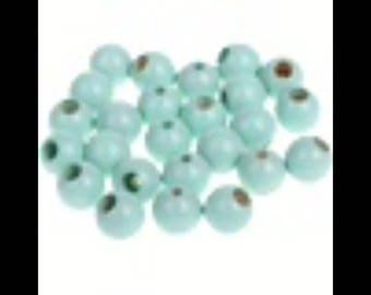 25 round beads 10 mm light mint pacifier