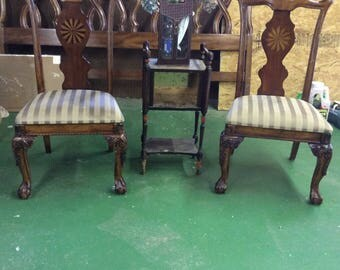 ASHLEY FURNITURE CHIPPENDALE Inlaid Pinwheel Fan Ball & Claw Side Dining Chairs
