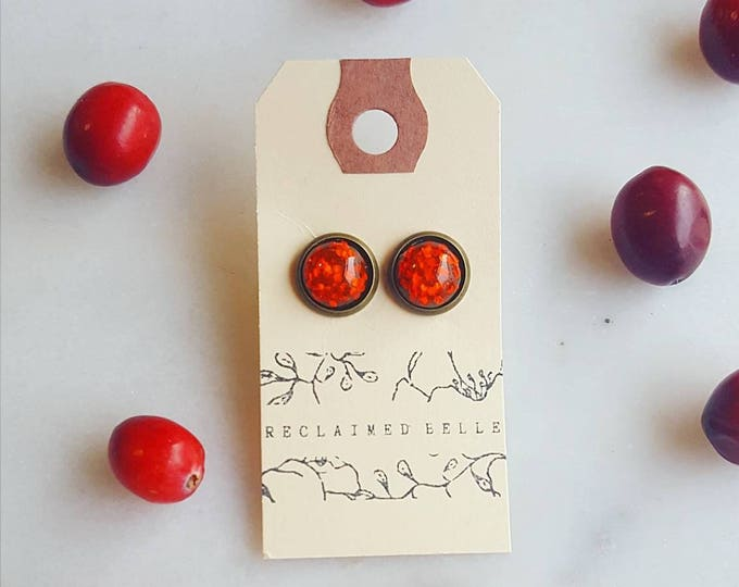 Vintage red glitter Christmas studs 10mm