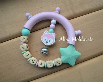Pacifier clip - Silicone pacifier clip - Teething Toy - Natural pacifier chain -  Eco friendly Teether - READY TO SHIP!Set - Your baby name