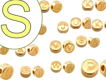 alphabet bead  S 7mm gold plated #3857