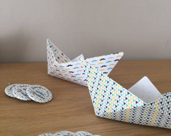 Table decoration craft origami mustache blue mustard polka dots (price)