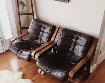 Mid century leather lounge chairs by Scanform Colombia, leather bentwood chairs, pair of leather chairs, vintage leather chairs