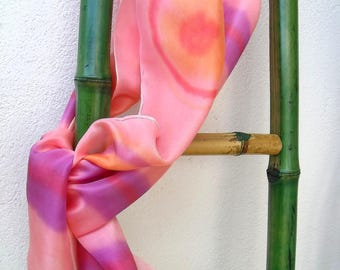 "Silk scarf painted by hand, new series: 2 ""Mark Points"""