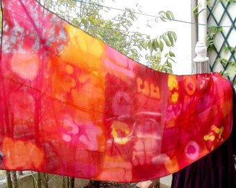 """Hand painted silk scarf """"""""Dance of light""""(14)"""""""