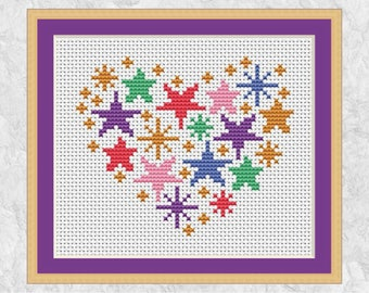 Stars heart cross stitch pattern, modern rainbow embroidery design, quick easy simple beginner's pattern with full instructions, printable