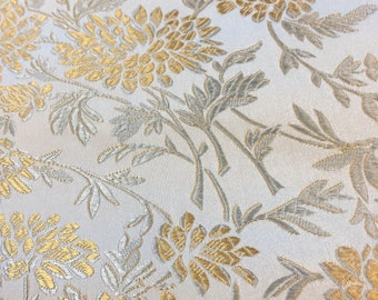 Upholstery Fabric. 1/2 yd. Floral Fabric. Brocade Upholstery Fabric. Silver Fabric. Gold Fabric. Jacquard Fabric