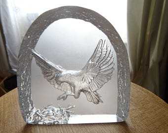 Glass paperweight etched with flying eagle