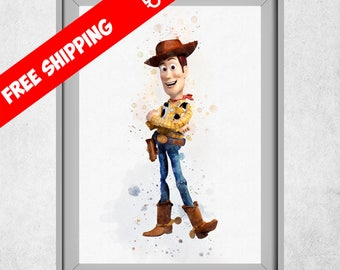Toy Story Woody Print, Toy Story Nursery Wall Art Decor, Watercolour Toy Story, Toy Story Kids Room Decorations, Disney Prints