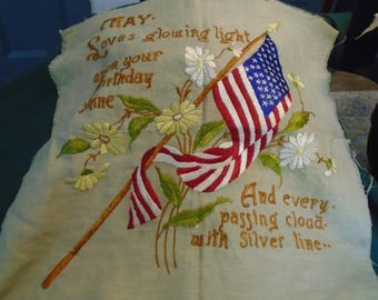 1920's Patriotic Embroidered Pillow Cover