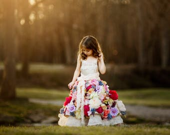 "The ""Eden"" Floral Gown - Flower Girl - Mini Bride - Handmade Dress - Girl's Gown - High Fashion Gown - Styled Photography - Couture Gown"