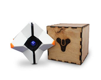 Destiny Ghost Replica FULLY ASSEMBLED - 3D Printed With Custom Laser Cut Box, Magnets, & LED