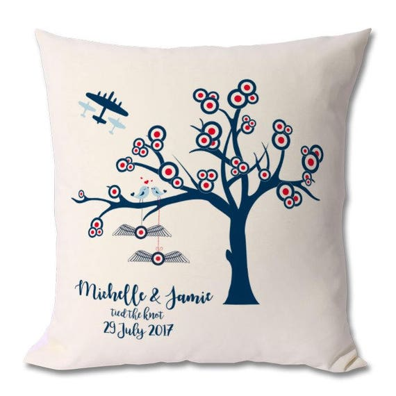 RAF Personalised Wedding Cushion - Anniversary or Wedding Gift - Tied the Knot - RAF Style
