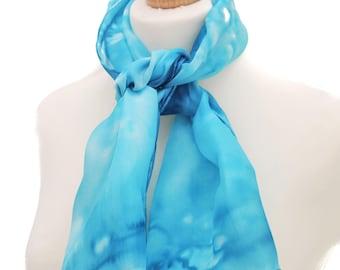 Blue silk scarf, blue scarf, silk anniversary gift, something blue, silk scarves, bridesmaid gift, 12th anniversary gift, handmade scarf
