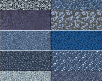 Lot of 10 Fat Quarters, Quilting Sewing Cotton Fabric FQ Bundle Variety of Blue Colors