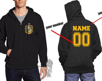 Custom Back, Huffle #1 Crest Pocket size front printed on Zipper Hoodie