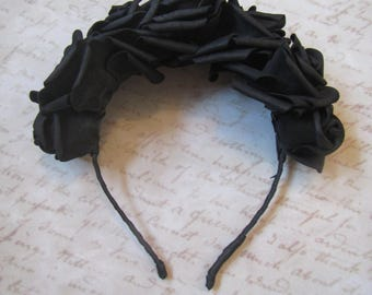 Black Roses, Flower headband, Hair hoop with freesias, Hair accessories, Flower hair hoop, roses flowers, Hallowen Hair hoop, Hallowen roses