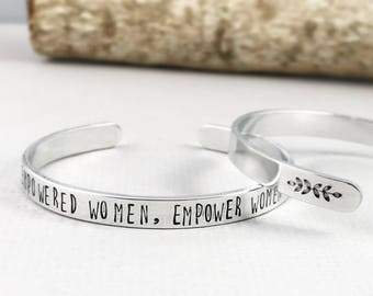 Empowered Women Empower Women Hand Stamped Cuff, Feminist Bracelet, Girl Power Bracelet, Girl Boss Custom Cuff Bracelet