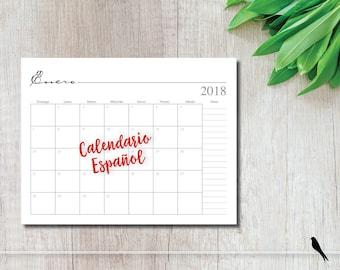 2018 Printable 12 Month Wall Calendar - Spanish Monthly Calendar - 2018 Calendario - Instant Download Notes Calendar