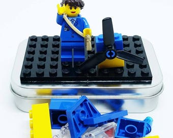 Brick Pilot On-the-Go Travel Play Set - Real LEGO Bricks - FREE SHIPPING! Kid travel, party favor, wedding kid table activity!