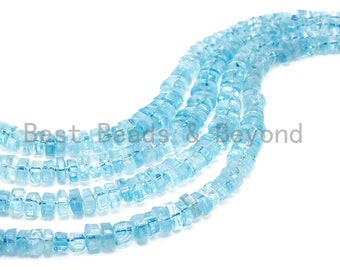 Top Quality Aquamarine Graduated 7mm to 14 mm Heishi Rondelle Faceted Beads, Aqua Blue,Aquamarine Gem stone Beads, 13in full strand, sku#U26