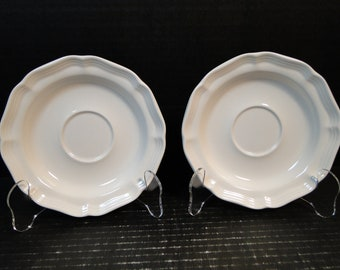 "TWO Mikasa French Countryside Saucers 6 1/4"" White F9000 Set of 2 EXCELLENT!"