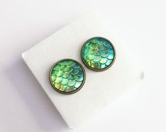 Green Mermaid Scale Stud Earrings