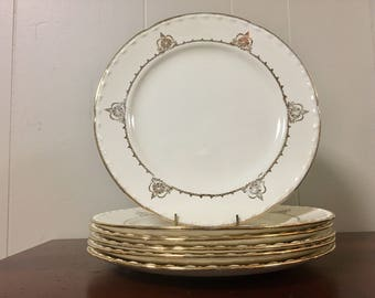 Crooksville China Dinner Plates - Set of 6 / Gold & Ivory Dinnerware