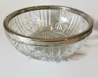 Vintage Glass Serving Bowl with Silver Plate Rim