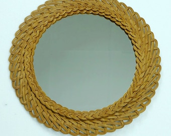 round WALL MIRROR with braided rattan frame mid century 50s