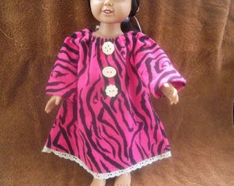 Flannel Nightgown for 18 inch Doll