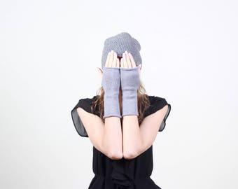 Merino wool gloves, knit wrist warmers, gray fingerless gloves, soft Winter gloves, Christmas gift idea, warm gloves, wool fingerless gloves
