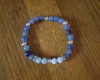 Blue aventurine and amazonite bracelet