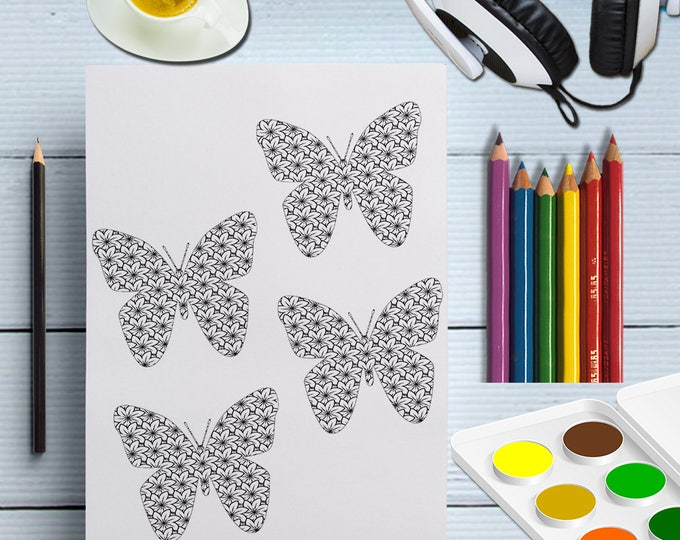 PDF Butterfly Color Page, DIY Butterfly Printable Antistress Color In, Butterflies, Butterfly Drawing