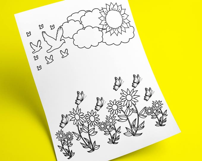 Nature Coloring Page, Kid Coloring Activity, Sun Coloring Page, Birds Coloring Page, Kids Coloring Nature, Coloring Book Pages