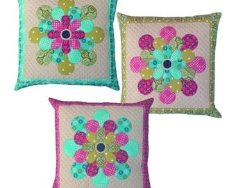 Petal Cushions Pattern by Emma Jean a pillow pattern.