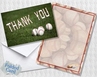 Baseball Thank You Cards; Folded Card; Postcard; PDF; E-Card