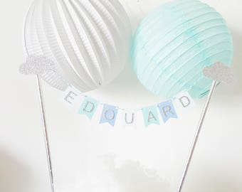 Decoration - Garland name for cake - blue and silver - clouds