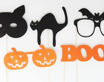 Set of 5 Halloween-cat-bat Photobooth props-