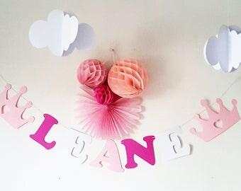 Guirlande prénom en papier sur cordon en coton enduit - pour anniversaire Bapteme