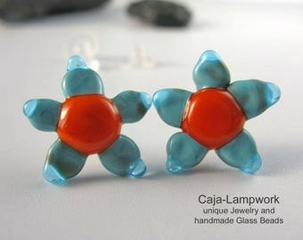 Large turquoise - orange flower earrings, Lampwork
