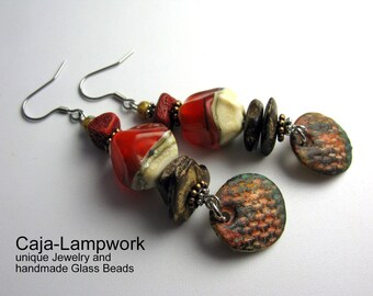 Brown-and orange earrings with handmade polymer clay pendants, Lampwork, and small coral beads
