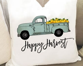 Happy Harvest Pillow - Blue Truck Pillow Cover - Fall Pillow Cover - Thanksgiving Home Decor - Rustic Gather Pillow Cover - Autumn Pillow
