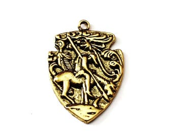 3 Antique Gold Southwest Indian Pendant, Native American Pendant, Indian Antique Gold Pendant, Southwestern Pendant, Southwest Earrings