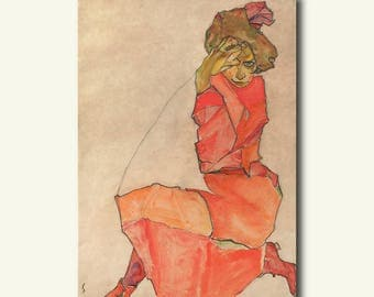 Printed On Textured Bamboo Art Paper - Kneeling Female in Orange-Red Dress 1910 - Egon Schiele Print Schiele Poster Gift Idea  bp