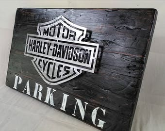 H-D PARKING sign logo wood & iron 60 x 97 cm
