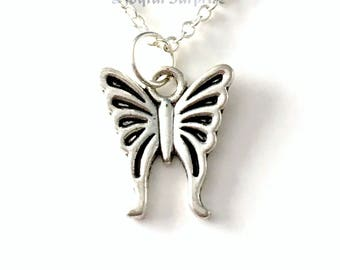 Butterfly Necklace, Butter fly Gift Jewelry, Small Silver Charm, Little Girls, Insect Bug Wings Sympathy Memorial  Everyday Long short chain